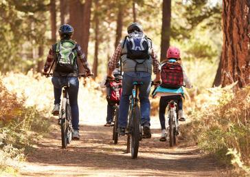 excursió en família amb bicicleta pel bosc a la tardor