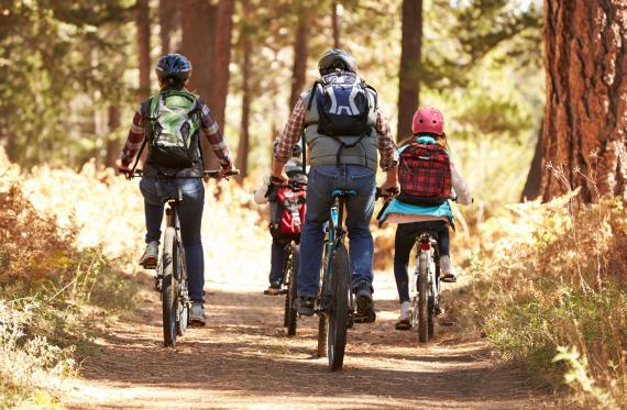 family bike excursion through the forest in autumn