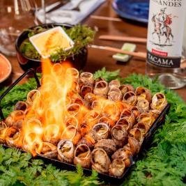caracoles flameados cocina tradicional restaurante Es Arraïtzes Valle Aran