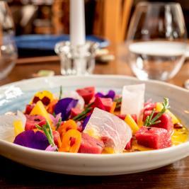 tuna ceviche dish Es Arraïtzes Garós restaurant